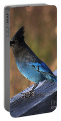 Portable Battery Charger featuring the photograph A Stellers Jay On The Boardwalk by Stanza Widen