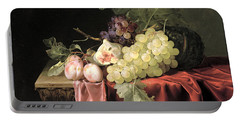 A Still Life With Grapes, Plums, Figs And A Melon On A Partly Draped Stone Ledge, 1653 Oil On Canvas Portable Battery Charger