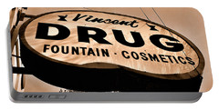 A Store For Everyone - Vintage Pharmacy Sign Portable Battery Charger