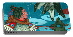 Portable Battery Charger featuring the painting A Study For Whale Dreamer by Chholing Taha