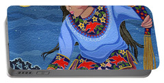 Portable Battery Charger featuring the painting A Study - Lightening Walker by Chholing Taha