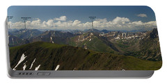 A Summit View Panorama Text Portable Battery Charger by Jeremy Rhoades