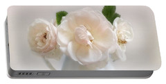 A Trio Of Pale Pink Vintage Roses Portable Battery Charger by Louise Kumpf