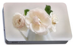 Portable Battery Charger featuring the photograph A Trio Of Pale Pink Vintage Roses by Louise Kumpf