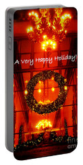 A Very Happy Holiday - Christmas Wreath - Helmsley Building New York - Holiday And Christmas Card Portable Battery Charger