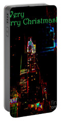 A Very Merry Christmas - Chrysler Abstract - The Lights Of New York - Holiday And Christmas Card Portable Battery Charger