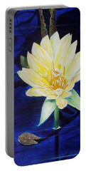 Portable Battery Charger featuring the painting A Waterlily by Marilyn  McNish