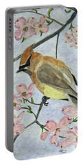 A Waxwing In The Dogwood Portable Battery Charger