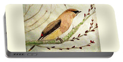 A Waxwing In The Orchard Portable Battery Charger