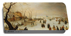 A Winter River Landscape With Figures On The Ice Portable Battery Charger