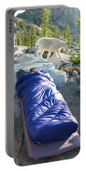 A Woman Asleep In Her Sleeping Bag Portable Battery Charger