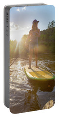 A Woman Paddleboarding On Animas River Portable Battery Charger