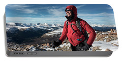 A Woman Summits Mt. Bierstadt In Winter Portable Battery Charger