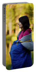 A Woman Wrapped In A Sleeping Bag Portable Battery Charger