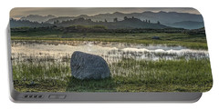 Portable Battery Charger featuring the photograph A Yellowstone Sunrise And Hazy Morning Ridges by Bill Gabbert