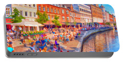 Aarhus Canal Digital Painting Portable Battery Charger by Antony McAulay