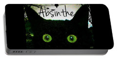 Absinthe Black Cat Portable Battery Charger by Absinthe Art By Michelle LeAnn Scott