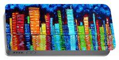 Abstract Art Landscape City Cityscape Textured Painting City Nights II By Madart Portable Battery Charger