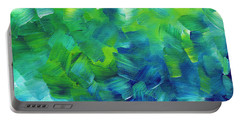 Abstract Art Original Textured Soothing Painting Sea Of Whimsy I By Madart Portable Battery Charger