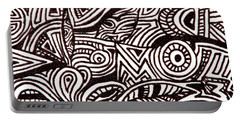 Abstract Black And White Ink Line Drawing Portable Battery Charger by Jean Haynes