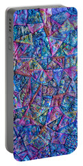 Abstract Blue Rose Quilt Portable Battery Charger