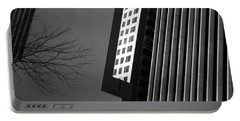 Abstract Building Patterns Black White Portable Battery Charger