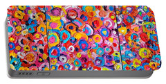 Abstract Colorful Flowers Triptych  Portable Battery Charger