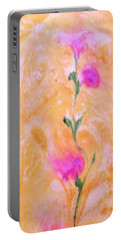 Portable Battery Charger featuring the painting Abstract Floral by Mike Breau