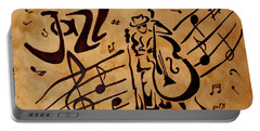 Portable Battery Charger featuring the painting Abstract Jazz Music Coffee Painting by Georgeta  Blanaru