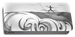 Abstract Landscape Art Black And White Yoga Zen Pose Between The Lines By Romi Portable Battery Charger