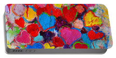 Abstract Love Bouquet Of Colorful Hearts And Flowers Portable Battery Charger