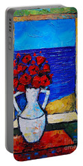 Abstract Poppies By The Sea Portable Battery Charger