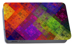 Portable Battery Charger featuring the digital art Abstract - Rainbow Infusion - Square by Andee Design