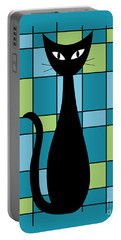 Abstract With Cat In Teal Portable Battery Charger
