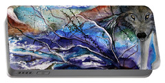 Portable Battery Charger featuring the painting Abstract Wolf by Lil Taylor