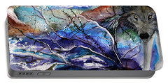 Abstract Wolf Portable Battery Charger by Lil Taylor