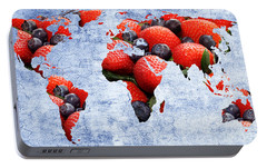Portable Battery Charger featuring the photograph Abstract World Map - Berries And Cream - Blue by Andee Design