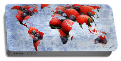 Abstract World Map - Berries And Cream - Blue Portable Battery Charger by Andee Design