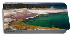 Portable Battery Charger featuring the photograph Abyss Pool And Yellowstone Lake by Sue Smith
