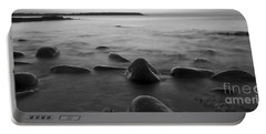 Acadia National Park Shoreline Sunrise Wakeup Black And White Portable Battery Charger