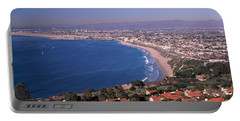 Aerial View Of A City At Coast, Santa Portable Battery Charger by Panoramic Images