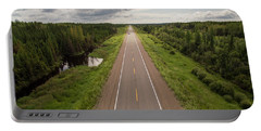 Aerial View Of Highway Through Forest Portable Battery Charger