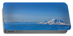 Aerial View Of Mount Rainier Volcano Art Prints Portable Battery Charger