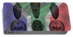 Africa Flag And Tribal Masks Portable Battery Charger