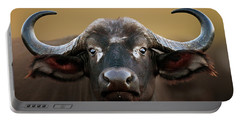 African Buffalo Cow Portrait Portable Battery Charger