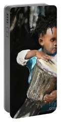 African Drummer Boy Portable Battery Charger by Vannetta Ferguson