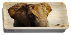 African Elephant Behind A Hill Portable Battery Charger
