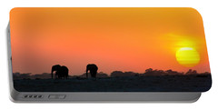 Portable Battery Charger featuring the photograph African Elephant Sunset by Amanda Stadther