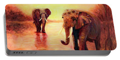 African Elephants At Sunset In The Serengeti Portable Battery Charger