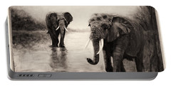 Portable Battery Charger featuring the painting African Elephants At Sunset by Sher Nasser
